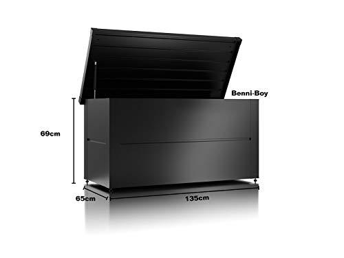 ILESTO Aufbewahrungsbox aus Stahl, Benni-Boy (401L): Auflagenbox wasserdicht L | Kissenbox für Ihren Garten 135x65x69cm | Stauraum für den Außenbereich | Anthrazit - 3