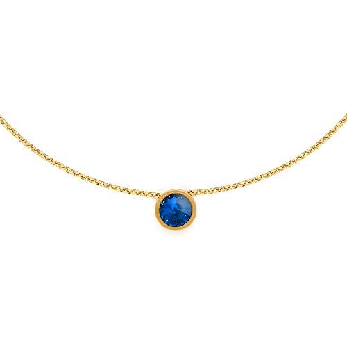 Heideman Halskette Damen Coma 13 aus Edelstahl gold farben matt Kette für Frauen mit Swarovski Anhänger Stein Zirkonia weiss oder farbig Länge 45 cm +5 cm Sapphrei hk2139-7-206-45