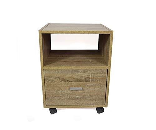Vetrineinrete Cassettiera per scrivania con Ruote mobiletto Un ripiano per casa Ufficio Un cassetto 54x40x40 cm (Legno Naturale)