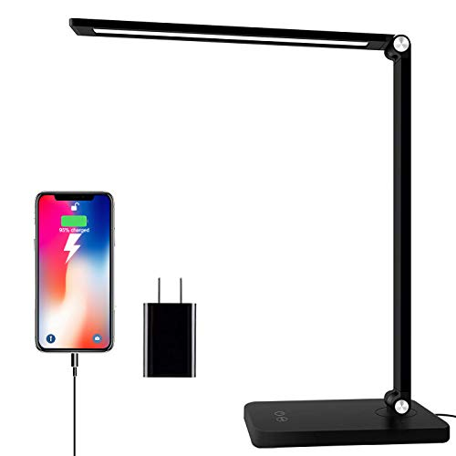 MOZAKA LED Desk Lamp with USB Charging Port, Dimmable Office Desk Lamp 5 Lighting Modes with 3 Brightness Levels, Aluminum Body Touch Control, Eye-Caring Table Lamp for Study, Working, Reading (Black)