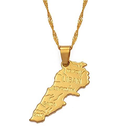 YUANYIRAN Líbano Mapa Colgante Encanto Collares - África Patriótica Étnica Mapas Collares De Bandera,Oro Color Clásico Hip Hop Joyería para Mujeres Hombres Tendencia Fiesta Regalo,45Cm