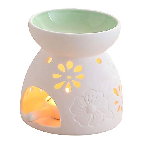 Singeek Ceramic Tea Light Candle Holder/Wax Melt Warmer, Essential Oil Burner Aromatherapy Diffuser for Living Room, Balcony Spa Yoga Meditation (Green)