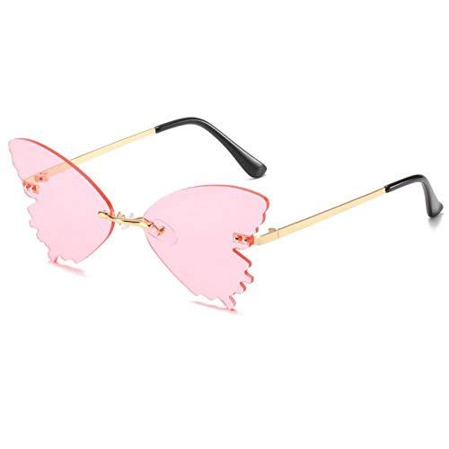 ZZOW Gafas De Sol Sin Montura con Forma De Mariposa Única De Moda para Mujer, Gafas De Sol Transparentes con Lentes De Océano, Gafas De Sol Retro para Hombre, Gafas De Sol Uv400