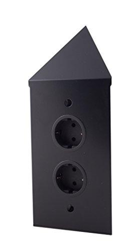 Thebo 17588/200/2C energie-hoekzuil 2 stopcontacten, kleur: zwart
