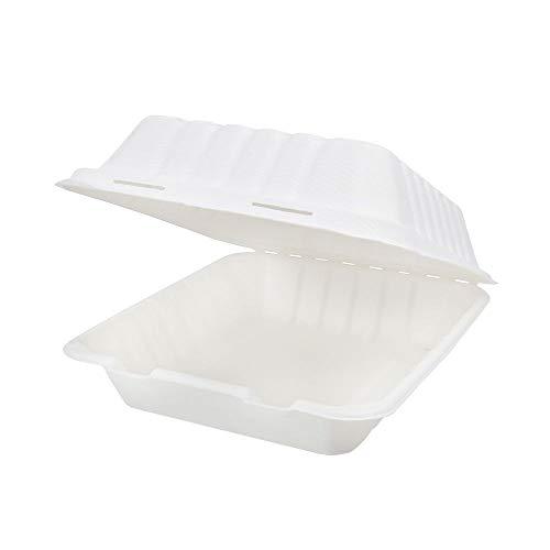 BIOZOYG Caja de Hamburguesa de caña de azúcar con Tapa abatible I 50 Piezas Aperitivos compostable de bagazo-Biodegradable I Caja de menú Cuadrada I Caja para Llevar 22x18,5x7 cm 200 Piezas