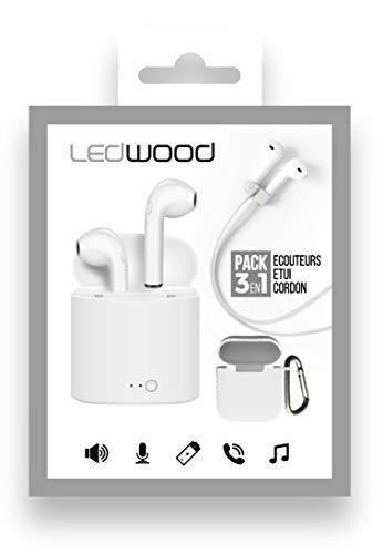 Ledwood – Auriculares in-ear Bluetooth con carcasa de carga – Pack 3 en 1: auriculares, funda de transporte y cable magnético, color blanco