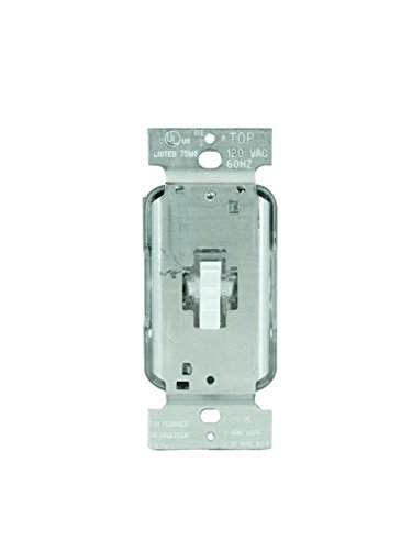 Legrand - Pass & Seymour T600LWV Lighted Toggle Dimmer Switch, 600-watt Single Pole Dimmer, Easy to Install, White