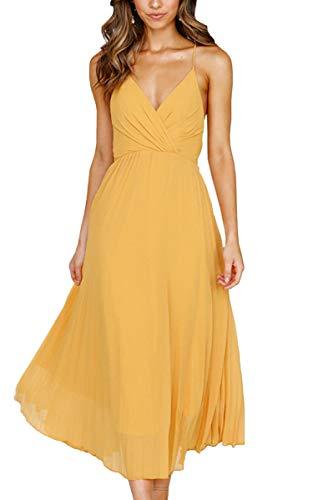 Spec4Y Damen Kleider V-Ausschnitt Träger Sommerkleider Einfarbig Partykleid Casual Midi Strandkleid Gelb L