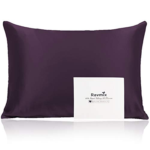 Ravmix 100% Pure Natural Mulberry Silk Pillowcase for Hair and Skin with Hidden Zipper Both Sides 21 Momme 600TC Hypoallergenic Soft Breathable Silk King Size 20×36 inches, 1-Pack, Eggplant Purple
