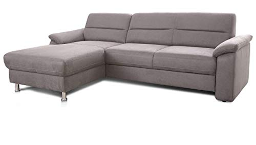 Cavadore Ecksofa Ascaro mit Longchair links / Boxspring-Sofa mit Bettfunktion im modernen Design / 254 x 84 x 171 / Lederoptik Hellgrau