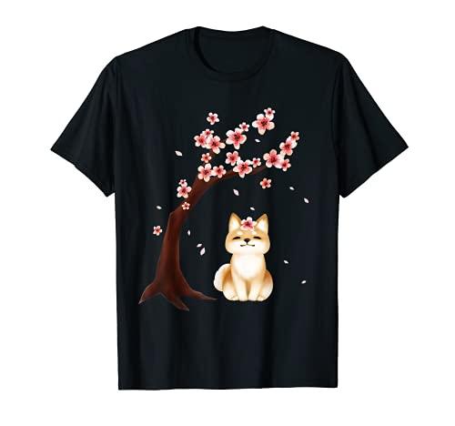 Shiba Inu Dog Japanese Kirschblüte Sakura Flower Hund TShirt