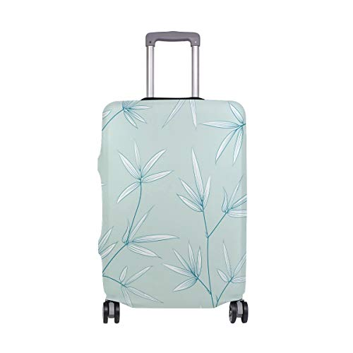 Orediy Elastic Travel Luggage Cover Bamboo Branch Leaves Print Trolley Case Suitcase Protector(Without Suitcase) S M L XL Size