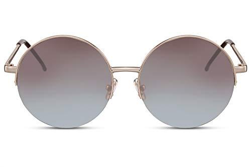 Cheapass Occhiali da Sole Grandi Rotondi Occhiali Metallici con Montatura Oro e Lenti Gradienti da Marrone a Blu UV400 Protetti da Donna