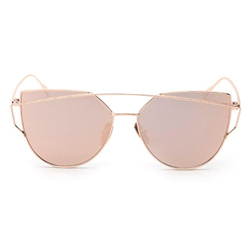 Forthery Cat Eye Mirrored Flat Lenses Classic Metal Frame Women Sunglasses (Rose Gold)