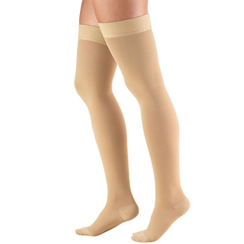 Truform 20-30 mmHg Compression Stockings for Men and Women, Thigh High Length, Dot Top, Closed Toe, Beige, Large