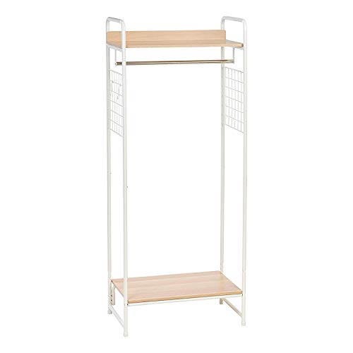 Iris Ohyama 530475 Perchero/espacio de almacenaje con estantes y ganchos para accessorios de metálico y MDF madera-Garment Rack PI-B4-Roble claro y blanco, 64 x 40 x 150 cm