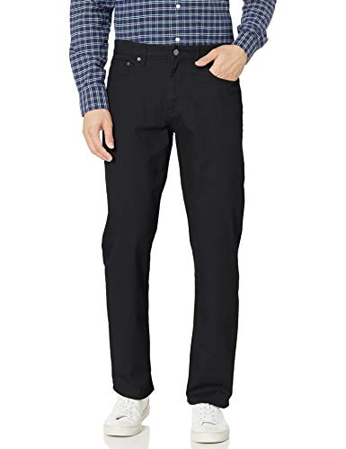 Amazon Essentials Men's Relaxed-Fit 5-Pocket Stretch Twill Pant, Black, 35W x 29L