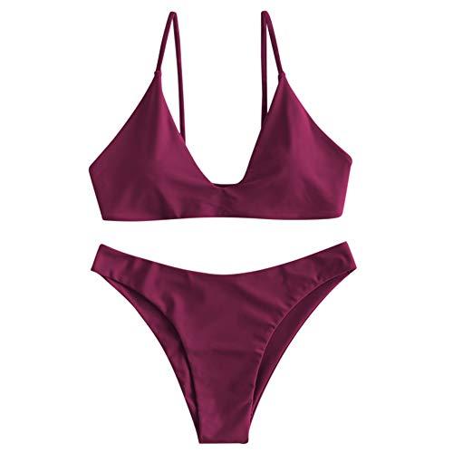 ZAFUL Damen Bikini Set Zweiteilig Badenanzug mit Spaghettitr?ger Einfarbiges Bademode Bikinis
