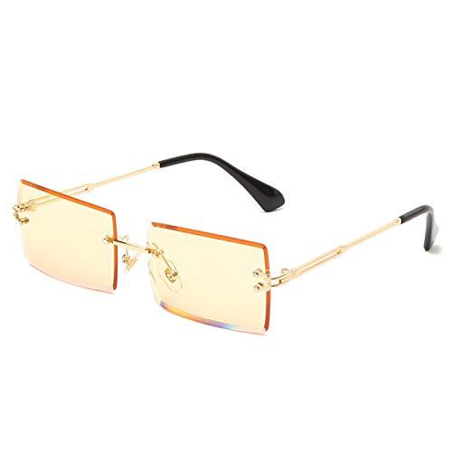 Fasion Sunglasses Occhiali da Sole Moda Occhiali da Sole Rettangolari Piccoli Occhiali da Sole Quadrati Senza Montatura