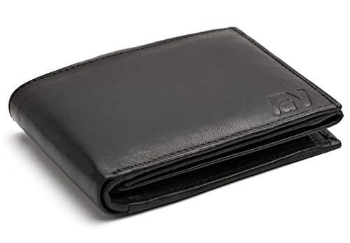 Schwarze Ledergeldbörse aus echtem Leder im Querformat Serie Phoenix 1