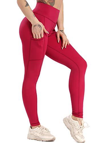 INSTINNCT Legging Sport Femme avec Poches Pantalon Yoga Confortable Elastique Taille Haute Amincissant Pantalon de Sport Slim pour Gym Fitness