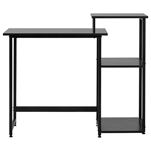 Betos Escritorio de ordenador con 3 estantes de almacenamiento mesa de escritorio con estantería para ordenador portátil con marco de acero para espacios pequeños en casa , oficina