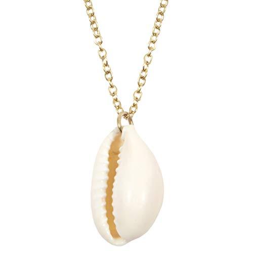 Happiness Boutique Damas Collar de Concha Cauri en Color Oro | Collar Delicado con Colgante de Concha Joyería de Acero Inoxidable