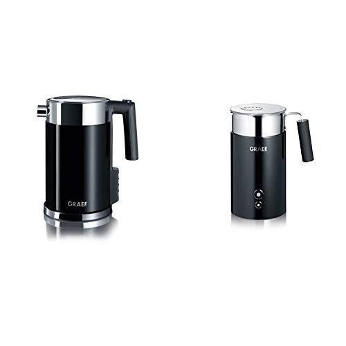 Graef Edelstahl Wasserkocher WK 702 mit Temperatureinstellung / Handbrüh-Taste für Filterkaffee / Edelstahl-Acryl, schwarz & MS702EU Milchaufschäumer, schwarz/edelstahl