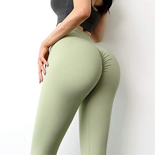 EWDF Nylon High Cintura Pantalones Largos Mujeres Hip Push Up Medias Mujeres Gimnasio Ropa Nueva Yoga Pantalones Mujeres Leggings para Fitness (Color : Light Green, Size : L)
