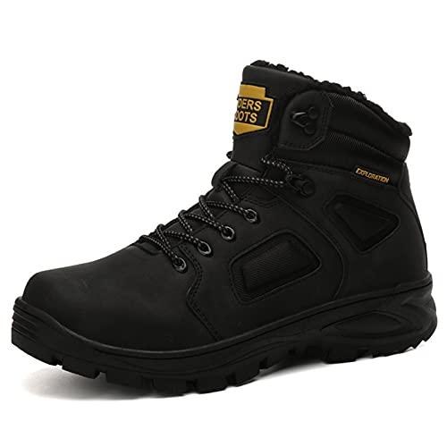Botas De Nieve Senderismo Hombre Impermeables Deportes Trekking Zapatos Invierno Forro Piel Sneakers,Negro,45 EU