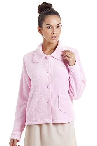 CAMILLE Womens Luxus Soft Button und Reißverschluss Bett Jacken Designs 46/48 Pink