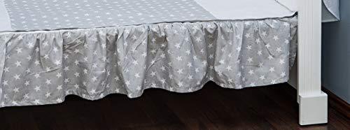 Vizaro - JUPE DE LIT EBOURRIFÉE| DRAP HOUSSE pour décorer le LIT BÉBÉ 70x140cm - 100% COTON - Fabriqué en UE, OekoTex - C. Petites Étoiles Blanches