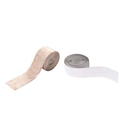 Baoblaze 2Pcs 3.2m Silicone Seal Caulk Strip For Kitchen Shower Door Self Adhesive