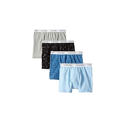 Calvin Klein Jungen Boys Underwear 4 Pack Boxer Briefs-Fashion Value Pack Slip, Blaue Planeten Schwarz, Groß