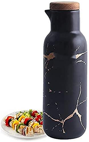 YTCGNSDVB Dispensador de Botella de vinagre de Aceite de Oliva,dispensador de Botella de Aceite de Oliva para Cocina 380 ml,Bote de Botella de vinagre de patrón de mármol con Tapa de Madera a Prueba