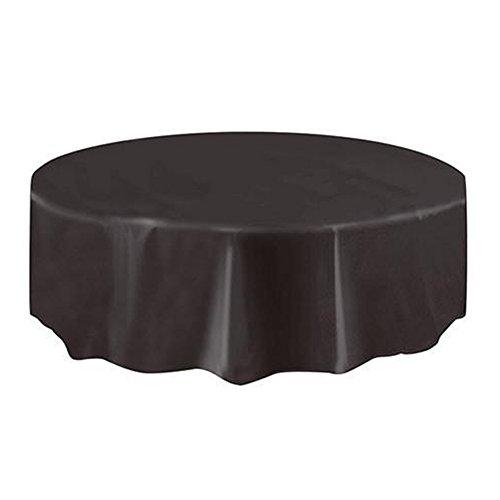 beiguoxia PEVA-Einweg-Tischdecke, rund mit beständiger Farbe, wasserdicht, Party-Tischdecke Einheitsgröße Schwarz