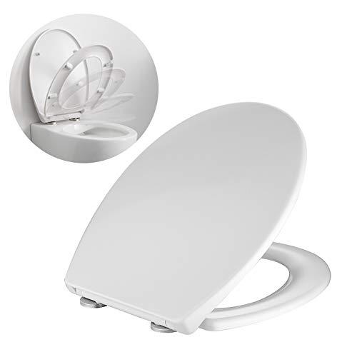 HOMELODY Toilettensitz oval, Toilettendeckel mit Absenkautomatik und Quick-Release Funktion,Antibakteriell Klodeckel O-förmiges ultradünnes Design, leicht zu montieren, weißer WC Sitz