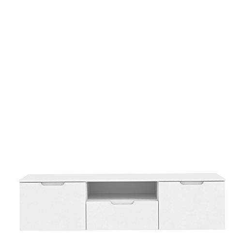 FORTE Modernes TV Board, Lowboard mit Hochglanzfront, Holzerkstoff, Weiß Hochglanz, 169.6 x 41.3 x 43.3 cm