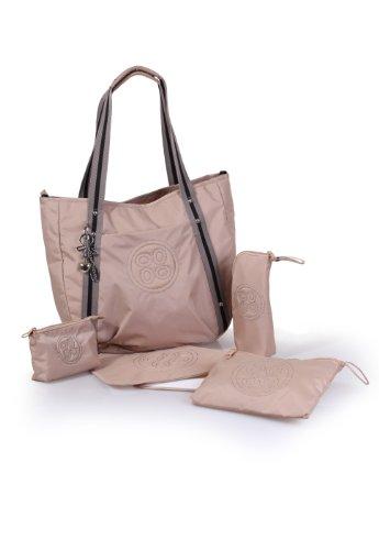 Okiedog Luxe Classic Cosmo Sac à langer avec porte-bouteille isotherme, matelas à langer, sac à accessoires, trousse de toilette et système de fixation pour poussette en nylon - Beige - beige, Large