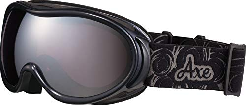 AXE(アックス) スキー レディース ゴーグル 偏光レンズ・ヘルメット対応・メガネ対応・ダブルレンズ・ノーズフィット・UVプロテクション ブラックマイカ AX595WMD
