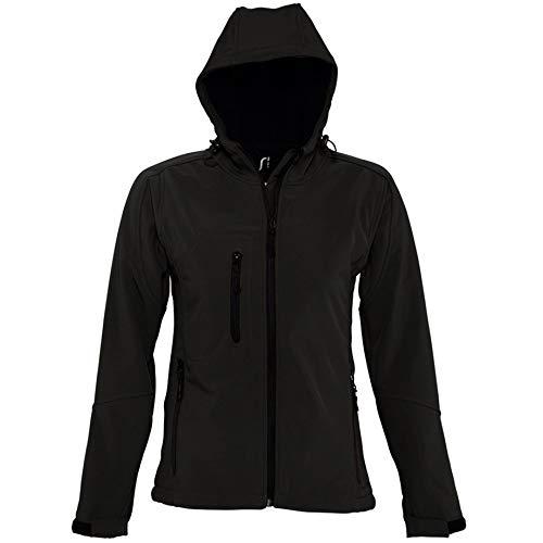 SOLS Damen Replay Softshell-Jacke mit Kapuze, atmungsaktiv, winddicht, wasserabweisend M,Schwarz