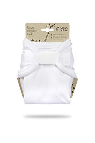 Petit Lulu Neugeborenen Überhose (2-6 kg) für Stoffwindeln Klett (Weiß)
