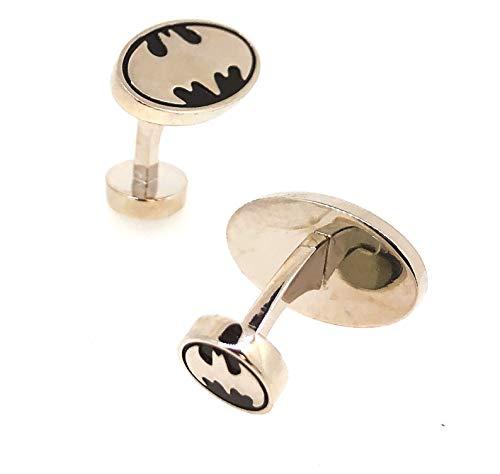 Manschettenknöpfe für Batman Hemd aus Stahl und schwarz oval 3D