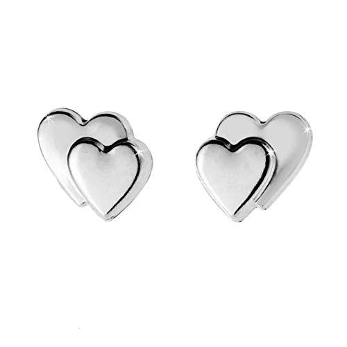 Peninsula Jewellery - Orecchini a bottone in oro bianco 9 kt, a forma di cuore doppio. In confezione regalo