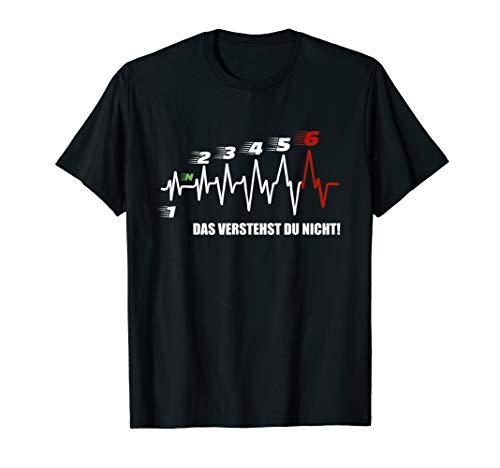 Herzschlag Motorrad Shirt, 6 Gänge Schaltung EKG T-Shirt