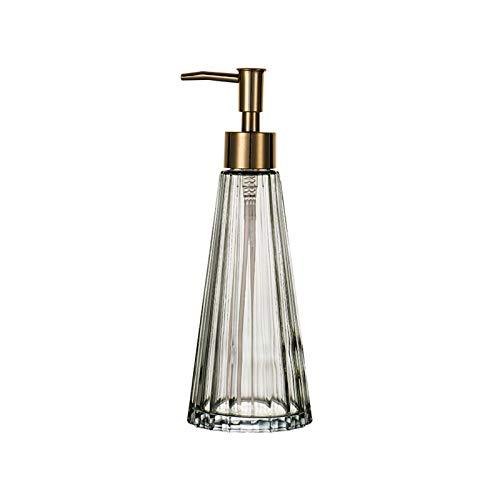 Dispensador de jabón de cocina Dispensador de jabón de botella de loción con el dispensador de jabón de vidrio transparente de la bomba de oro de galvanoplastia para lavar corporal, champús, cremas, a