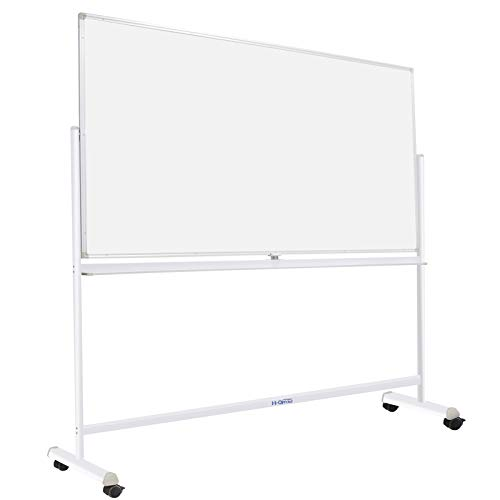 Dry Erase Board with Sturdy Stand, Double-Sided 72'x40' Mobile Magnetic Whiteboard on Wheels for Kids & Adult - 360° Rotating Comercial Rolling White Boards for Office, Home & School