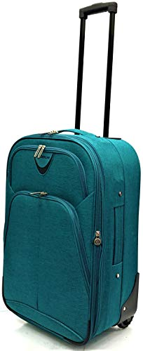 EasyJet, BA, Jet 2, Super Lightweight Expandable Cabin Approved Trolley 2 Wheeled Luggage Bag, FITS Within 56 x 45 x 25cm(21' EasyJet, Green)