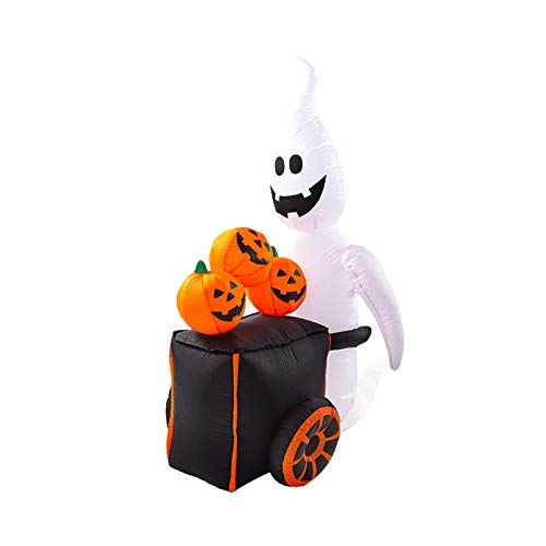 Fasclot Home Decor Halloween Inflatable Pumpkin cart Ghost Yard Decoration Indoor Ghost lamp