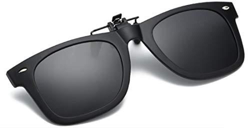 MARUYUKI 偏光 サングラス クリップオン メガネの上からつけられる紫外線カット 跳ね上げ式サングラス (黒)